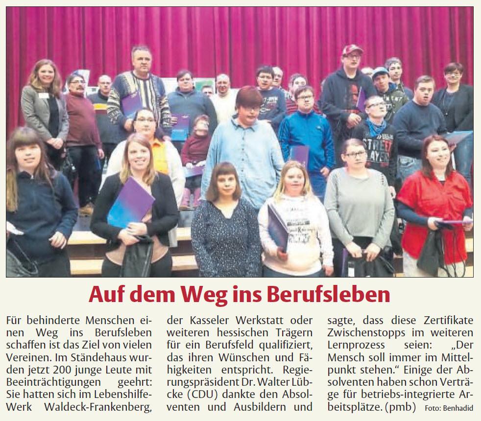 HNA-Bericht - Auf dem Weg ins Berurfsleben vom 22.02.2018