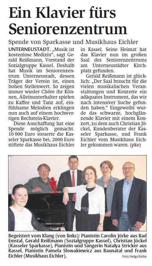 HNA-Bericht - Ein Klavier fürs Seniorenzentrum - vom 02.05.2018