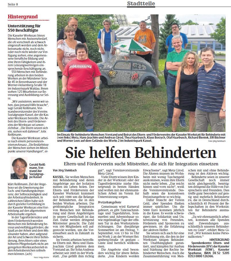 HNA-Bericht -Sie helfen Behinderten- vom 27.08.2018